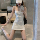 Women's large Summer 2021 Black white dress L S M Dress singleton  commute Sleeveless Solid color Korean version One word collar polyester fiber routine 8827# 8827# Xiangtitong 18-24 years old backless 96% and above Short skirt Polyester 100% Pure e-commerce (online only)