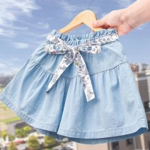 skirt 110cm,120cm,130cm,140cm,150cm,160cm,170cm Light blue, bow skirt, ultra-thin perforated shorts, black and white plaid skirt Other / other female Other 100% No season Miniskirt Korean version Solid color A-line skirt Denim other