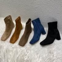 Boots 35, 36, 37, 38, 39, 40, the size of Korean shoes is small, it is recommended to consult customer service Caramel a51s7105, khaki a51s7105, black a51s7105, beige a51s7105, blue a51s7105 Suede Other / other Flat heel (1cm or less) Thick heel Suede Short tube Square head PU PU Spring 2020 rubber