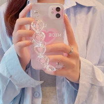 Ins wind Pink love apply Apple 12 Belt chain Mobile phone case cover iphone11promax Fall prevention x / xs / xr female xsmax All inclusive 7p / 8 plus Internet celebrity Han Feng Bracelet transparent soft