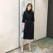 Dress Summer 2020 black S M L XL 2XL 3XL 4XL Mid length dress singleton  elbow sleeve commute V-neck Elastic waist Solid color Single breasted other shirt sleeve 18-24 years old Type H Dai Jinqing Korean version Button 9eKPE More than 95% Chiffon other Other 100%