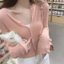 short coat Summer 2020 S M L Long sleeves have cash less than that is registered in the accounts Thin money singleton  Shawl type Versatile pagoda sleeve V-neck Single breasted Solid color 18-24 years old 96% and above Button other Other 100% Pure e-commerce (online only)