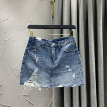 skirt Spring 2021 S M L XL 2XL blue Short skirt commute High waist A-line skirt Solid color Type A 18-24 years old 71% (inclusive) - 80% (inclusive) Denim W.S.VIP cotton Korean version Cotton 80% other 20% Pure e-commerce (online only)