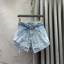 Jeans Summer 2021 Blue black S M L XL 2XL 3XL shorts High waist Wide legged trousers routine 18-24 years old Old wash white zipper button others Dark color GDSUAHDI Benbaojie Cotton 72% others 28%