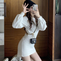 Women's large Autumn 2020 White black S L singleton  commute Long sleeves Solid color Korean version Crew neck other Nicole rose 18-24 years old 51% (inclusive) - 70% (inclusive) Short skirt Triacetate fiber (triacetate fiber) 100% Pure e-commerce (online only) other