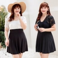 one piece  Other Oversize [suitable for 160 Jin and 170 cm] White, black No chest pad female Short sleeve Casual swimsuit Solid color