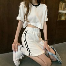 Casual suit Summer 2021 White suit S M L XL XXL 18-25 years old HBG771g's Changxi 51% (inclusive) - 70% (inclusive) polyester fiber Polyester 65% Cotton 30% polyurethane elastic fiber (spandex) 5% Pure e-commerce (online only)