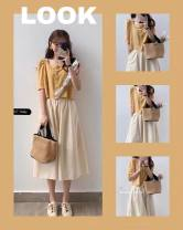 Women's large Summer 2021 Single top single Skirt Top + skirt S M L XL Dress Two piece set commute Straight cylinder Short sleeve Solid color Korean version Crew neck routine routine Belles of ladybro 18-24 years old Button longuette Other 100% Pure e-commerce (online only)