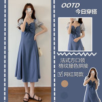 Women's large Summer 2021 Patchwork dress S M L XL Dress singleton  commute Short sleeve Solid color Korean version routine Belles of ladybro 18-24 years old longuette Other 100% Pure e-commerce (online only)