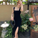 Dress Autumn 2020 black S M L XL Mid length dress singleton  Sleeveless commute One word collar High waist Solid color Socket One pace skirt routine camisole 18-24 years old Type H Wan Fengqing Korean version Open back zipper More than 95% other other Other 100% Pure e-commerce (online only)