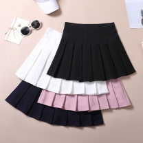 skirt Summer 2020 S M L XL XXL Navy Pink Black White Short skirt Versatile High waist Pleated skirt Solid color Type A 18-24 years old 91% (inclusive) - 95% (inclusive) Mortiman polyester fiber Mending with random stitches and stitching with open line decoration Other polyester 95% 5%