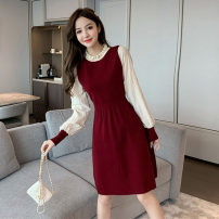 Dress Summer 2020 Red chiffon Sleeve Black Chiffon sleeve red knitting Sleeve Black knitting sleeve S M L Middle-skirt Fake two pieces Long sleeves commute Crew neck High waist other Socket A-line skirt Princess sleeve Others 18-24 years old Yali Meiying Korean version Splicing 9005# More than 95%