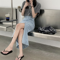 skirt Spring 2021 S,M,L Light blue, dark blue Mid length dress commute High waist A-line skirt Solid color Type H 18-24 years old MY 51% (inclusive) - 70% (inclusive) Korean version