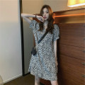 Dress Summer 2021 Picture color S,M,L Short skirt singleton  Short sleeve commute V-neck Loose waist Leopard Print Socket A-line skirt 18-24 years old Type A Korean version MY 51% (inclusive) - 70% (inclusive) Chiffon