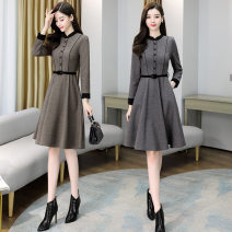 Dress Winter 2020 Grey, brown M,L,XL,2XL,3XL longuette singleton  Long sleeves Sweet Crew neck middle-waisted Solid color Socket Princess Dress other 25-29 years old 137d6639 with belt 51% (inclusive) - 70% (inclusive) Wool Cellulose acetate princess