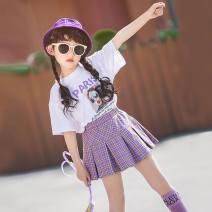 Square dance skirt Pink top + purple skirt, white top + purple skirt, peach suit XXS,XS,S,M,L Short skirt female other
