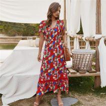 Dress Summer 2020 S,M,L,XL longuette singleton  Short sleeve V-neck Elastic waist Decor Princess Dress Type A ISYITLTY cotton