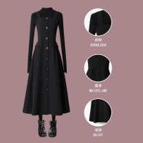 Dress Spring 2020 Black skirt + black sweater black skirt piece S M L XL XXL Mid length dress singleton  Sleeveless commute One word collar High waist Solid color Single breasted Big swing other straps 25-29 years old Type A Moyuan (clothing) Korean version Stitching strap button ML748 More than 95%