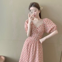 Women's large Summer 2020 Picture color S M L Dress singleton  Self cultivation Broken flowers Medium length puff sleeve Sticking core rabbit 18-24 years old backless Medium length Other 100% Pure e-commerce (online only) Princess Dress Hollowing out