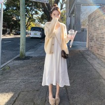 Women's large Autumn 2020 [single piece] white suspender skirt [single piece] yellow cardigan yellow sweater + white suspender S M L XL Two piece set commute Cardigan Long sleeves Solid color Korean version V-neck have cash less than that is registered in the accounts other routine 18-24 years old