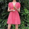Dress Summer 2020 Red, blue, sale | red, sale | blue S,M,L Middle-skirt singleton  Short sleeve Sweet V-neck Elastic waist lattice A-line skirt puff sleeve Others 18-24 years old Type A polyester fiber