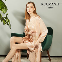 Nightgown / bathrobe Comenti female 160(M) 165(L) 170(XL) Champagne (2-piece hanging robe) routine sexy silk summer More than 95% Medium length (knee to Mid Calf) silk Solid color S1P101 lace 200g and below Summer 2020 Mulberry silk 100% Pure e-commerce (online only)