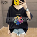 T-shirt Black white red M L XL 2XL 3XL 4XL Summer 2021 Short sleeve V-neck easy Medium length routine commute other 96% and above 25-29 years old Korean version Cartoon animation Hope wind XF-V217 printing Other 100% Pure e-commerce (online only)