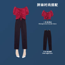 Women's large Summer 2021 White suit red suit trousers Two piece set commute thin Socket Short sleeve Retro Bu Chen 25-29 years old Other polyester 95% 5% Pure e-commerce (online only) trousers