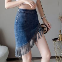 skirt Summer 2020 S M L XL 55 dark blue rough edge blue 55 light blue twill dark blue Short skirt High waist Irregular Type H 25-29 years old More than 95% Denim H. B. Curry / black and white curry other tassels Other 100%