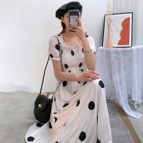 Dress Pomelo to see you White black M L XL XXL Korean version Short sleeve Medium length summer square neck Dot