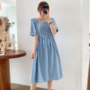 Dress Pomelo to see you blue M L XL XXL Korean version Short sleeve Medium length summer square neck Solid color