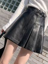 skirt Autumn 2020 S,M,L,XL,2XL,3XL,4XL,5XL black Short skirt commute High waist Pleated skirt Solid color Type A 18-24 years old More than 95% Other / other other Korean version