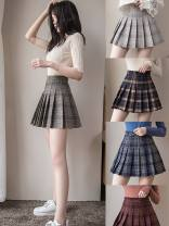skirt Winter of 2019 Short skirt Versatile High waist Pleated skirt lattice Type A 18-24 years old 51% (inclusive) - 70% (inclusive) Wool Other / other Viscose Fold, zip, splice 351g / m ^ 2 (including) - 400g / m ^ 2 (including)