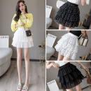 skirt Spring 2021 S M L XL 2XL White dot black dot pure white pure black Short skirt High waist Cake skirt More than 95% Yan Ye other Lotus leaf edge Other 100%