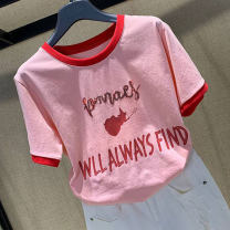 T-shirt Pink 2/S 3/M 4/L 5/XL Summer 2021 Short sleeve Crew neck easy Regular routine commute cotton 86% (inclusive) -95% (inclusive) 18-24 years old originality letter Pretend to be amashizheng 5300678-1A00522-001 printing Cotton 95% polyurethane elastic fiber (spandex) 5%