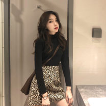 skirt Winter 2020 S M Black T-shirt + card skirt apricot T-shirt + apricot skirt Mid length dress commute Natural waist 18-24 years old HX2681 More than 95% Yugou other Korean version Other 100% Pure e-commerce (online only)