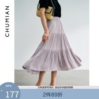 skirt Spring 2021 S M L Mid length dress Versatile Natural waist A-line skirt Solid color Type A 25-29 years old More than 95% Primary cotton polyester fiber Polyester 100% Same model in shopping mall (sold online and offline)