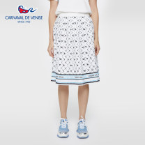 skirt Summer 2020 64 67 70 73 76 80 white Mid length dress grace Natural waist A-line skirt other Type A 25-29 years old V861203112 More than 95% CARNAVAL DE VENISE polyester fiber printing Polyester 100% Same model in shopping mall (sold online and offline)