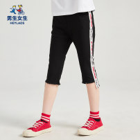 trousers Boys and girls female 120cm,130cm,140cm,150cm,160cm,170cm White, black summer trousers leisure time There are models in the real shooting Leggings Leather belt middle-waisted cotton Don't open the crotch Cotton 79.9% polyester 20.1% NPXEJ29531A Class B 7, 8, 14, 6, 13, 11, 10, 9, 12
