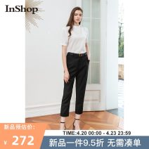 Casual pants black S M L Summer 2021 Ninth pants Straight pants Natural waist commute routine 18-24 years old 0421C34028 INSHOP Simplicity Polyester fiber 67.6% viscose fiber (viscose fiber) 30.9% polyurethane elastic fiber (spandex) 1.5% Same model in shopping mall (sold online and offline)