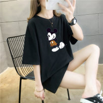 T-shirt Pink black white red yellow green light blue dark blue orange M L XL XXL Summer 2021 Short sleeve Crew neck easy Regular routine commute cotton 86% (inclusive) -95% (inclusive) Simplicity originality Cartoon animation Love can be reserved printing Pure e-commerce (online only)