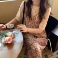 Dress Spring 2021 White base + floral skirt S M L XL longuette Two piece set Sleeveless commute Crew neck Loose waist Broken flowers Socket A-line skirt routine camisole 18-24 years old Type A Beautiful and graceful Korean version More than 95% Chiffon other Other 100%