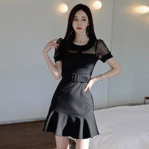 Dress Summer 2021 Black Belt S M L XL Short skirt singleton  Short sleeve commute Crew neck High waist Solid color zipper Ruffle Skirt puff sleeve 25-29 years old Touwen Korean version Button zipper with ruffle stitching NH2255 More than 95% polyester fiber Pure e-commerce (online only)