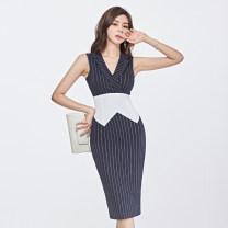 Dress Summer 2020 Navy Blue S,M,L,XL Mid length dress singleton  Sleeveless commute tailored collar High waist stripe zipper One pace skirt 18-24 years old Korean version Bowknot, lace up, stitching, zipper