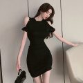 Dress Summer 2021 black S M L Short skirt singleton  Short sleeve commute Crew neck High waist Solid color Socket One pace skirt routine 18-24 years old Touwen Chain fold splicing YC9934 More than 95% polyester fiber Polyester fiber 95% polyvinyl chloride (PVC) 5% Pure e-commerce (online only)