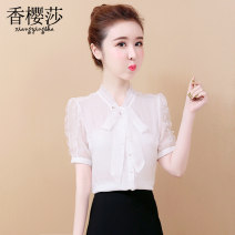 Lace / Chiffon Summer 2020 S M L XL 2XL Short sleeve commute Cardigan singleton  easy Regular Doll Collar Solid color shirt sleeve 25-29 years old Xiangyingsha XYS00000000347 Bow, ruffle, pleated and pleated auricular button Korean version Other 100%