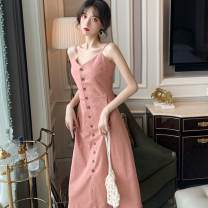 Dress Summer 2020 Pink Black S M L XL longuette singleton  Sleeveless commute V-neck High waist Solid color other routine Others 18-24 years old Type A Korean version 71% (inclusive) - 80% (inclusive) polyester fiber Polyester 80% other 20% Pure e-commerce (online only)
