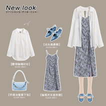 Dress Summer 2021 White shirt blue dress white shirt / blue dress Average size S M Mid length dress singleton  Sleeveless commute V-neck middle-waisted A-line skirt routine camisole 18-24 years old Wen Lianyi Korean version 2103I-0649/2104A-0714 More than 95% other Other 100%