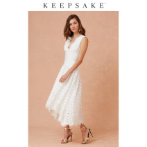 Dress Spring 2020 ivory XXS XS S M L XL longuette singleton  Sleeveless Sweet V-neck High waist Solid color Socket A-line skirt 25-29 years old Type H Keepsake the Label Lace 302001066-832 71% (inclusive) - 80% (inclusive) other polyester fiber Polyester 73% viscose 27% princess