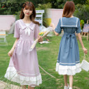 Dress Summer 2021 Blue Pink 2. Navy 2. White 3. Sky blue 3. Navy 4. Sky blue 4. Navy 5. Yellow S M L XL Mid length dress singleton  Short sleeve Sweet Admiral High waist Solid color other Ruffle Skirt routine Others Under 17 Type A Gu Meng 548R321407O06 More than 95% other Other 100% solar system
